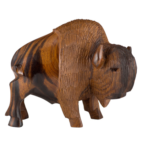 Buffalo Bison Hand Carved Ironwood Wood Figurine 1