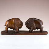 Buffalo Bison Charging Hand Carved Ironwood Wood Figurine 2