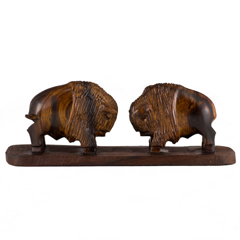 Buffalo Bison Charging Hand Carved Ironwood Wood Figurine 1