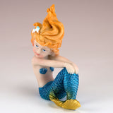 Blue Mermaid Girl Sitting Figurine 2