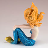 Blue Mermaid Girl Sitting Figurine 3