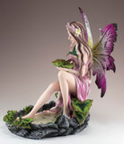 Pink Fairy In Pond With Hummingbird Figurine Statue