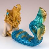 Blue Mermaid Lying Figurine 4
