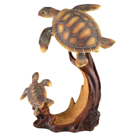 Pair of Sea Turtles Mother and Baby Faux Wood Figurine 1