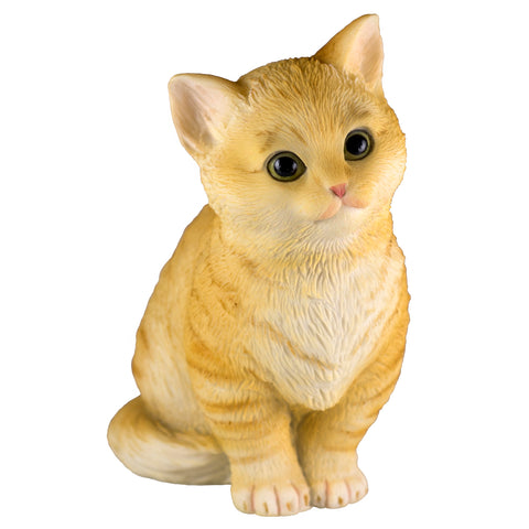 Orange Striped Tabby Kitten Sitting Cat Figurine 1