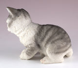 Gray Striped Kitten Cat Figurine