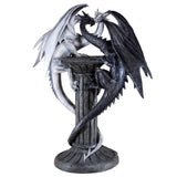 Black and White Dragons On Pillar Figurine 2