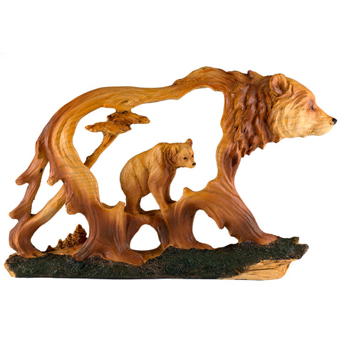 Bear Faux Carved Wood Figurine 11