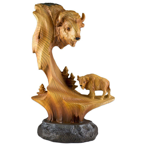Buffalo Bison Faux Carved Wood Look Figurine 11
