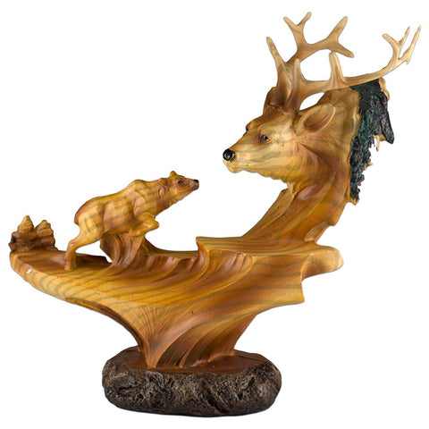 Elk Buck Head Bust With Smaller Elk Faux Carved Wood Look Figurine