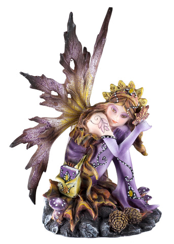Purple Leaf Fairy With Book Figurine Statue