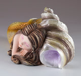Mermaid Baby Gold Sleeping On Spiral Shell Figurine 4