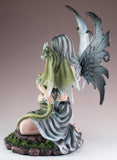 Gray Fairy Holding Green Dragon Figurine