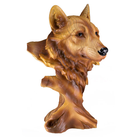 Wolf Head Bust Faux Carved Wood Look Figurine