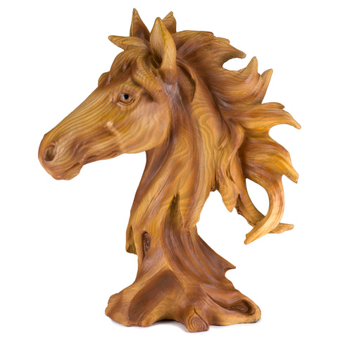 Horse Head Bust Faux Carved Wood Look Figurine 1