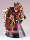 Dragon Figurine Red and Gold On Glass Pyramid 2