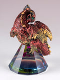Dragon Figurine Red and Gold On Glass Pyramid 4