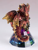 Dragon Figurine Red and Gold On Glass Pyramid 5