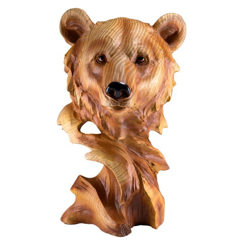 Bear Head Bust Faux Carved Wood Figurine 1