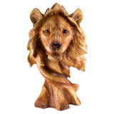 Lion Head Bust Faux Carved Wood Look Figurine 1
