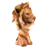 Lion Head Bust Faux Carved Wood Look Figurine 2