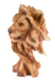 Lion Head Bust Faux Carved Wood Look Figurine 3