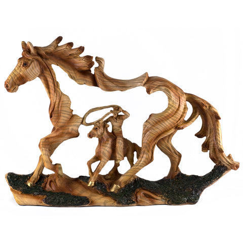 Cowboy On Western Horse With Lasso Faux Carved Wood Look Figurine