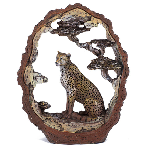 Leopard Cheetah Figurine Faux Carved Wood Look Bark Frame 1