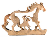 Cowboy On Western Horse With Lasso Faux Carved Wood Look 2