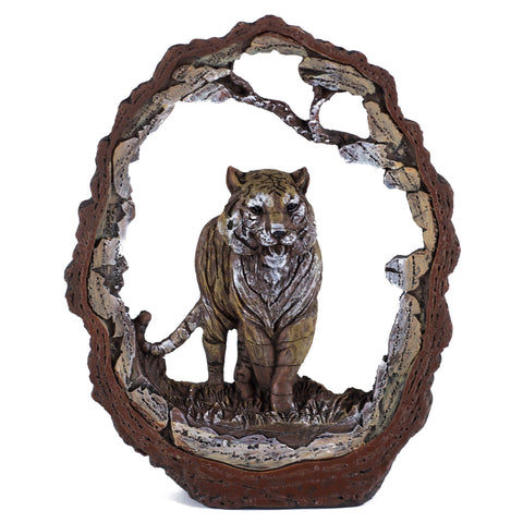Tiger Figurine Faux Carved Wood Look Bark Frame