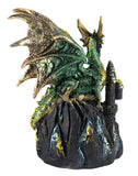 Green Dragon On Castle Figurine With LED Light Up Crystals