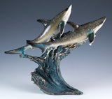 sharks on wave figurine resin 1