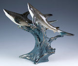 sharks on wave figurine resin 3