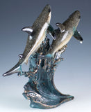 sharks on wave figurine resin 4