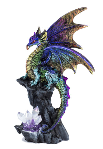 Multicolor dragon figurine with crystals 1