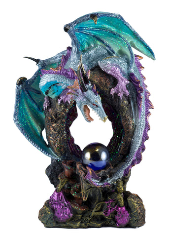 Blue Dragon Figurine Statue With Crystal Ball