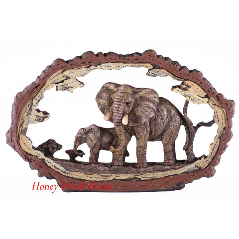 Elephant Faux Carved Wood Look Bark Frame Figurine