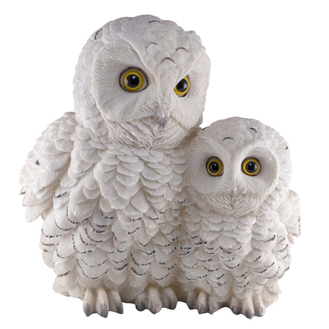 White Snowy Owl With Baby Owlet Chick Figurine