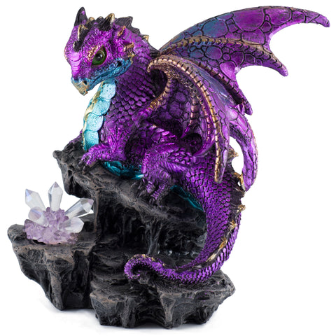 Dragon Figurine Purple With LED Crystals 1