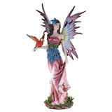 Large Scale Pink Fairy With Red Parrot Figurine 1