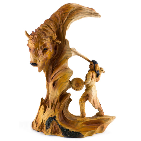 Indian Hunter With Buffalo Faux Carved Wood Look Figurine