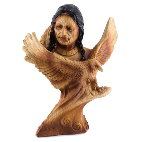 Native American Indian With Eagle Faux Carved Wood Figurine 1