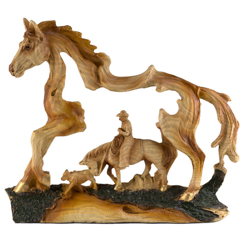 Cowboy On Horse With Calf Faux Carved Wood Look Figurine