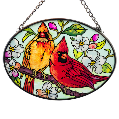 Orchard Cardinals Glass Suncatcher By AMIA 3