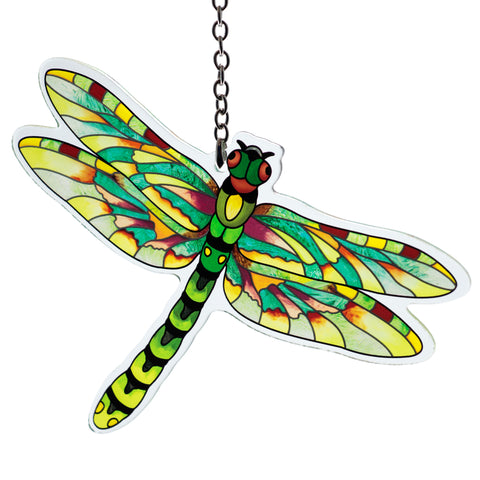 Flame Skimmer Dragonfly Glass Suncatcher By AMIA 1