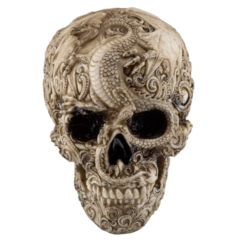 White/Brown Skull With Dragon Motif Figurine 1