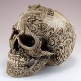 White/Brown Skull With Dragon Motif Figurine 2