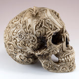 White/Brown Skull With Dragon Motif Figurine 3