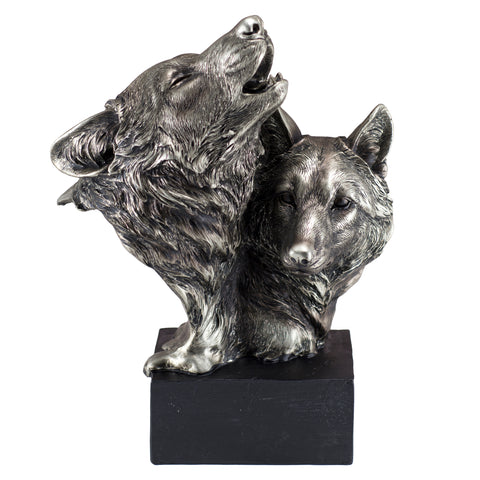 Pewter/Silver Tone Wolf Head Bust Figurine 1