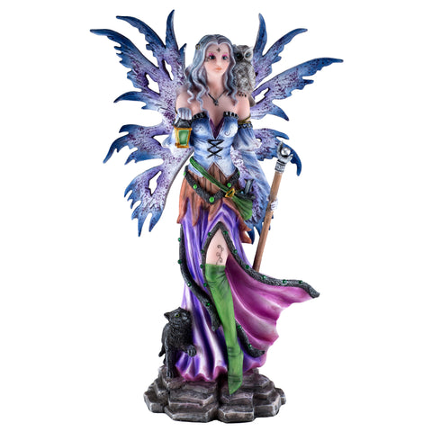 Purple Fairy Figurine With Black Cat, Owl 1